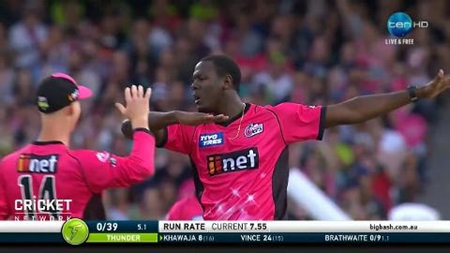Brathwaite celebrates Khawaja wicket with dab