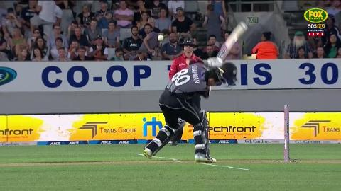 Stanlake crashes helmet off Kiwi Champan for wicket