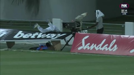 Perera stretchered off after fielding incident