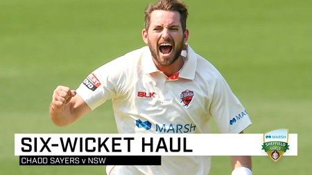 Sayers sends stumps cartwheeling with Shield six-fa