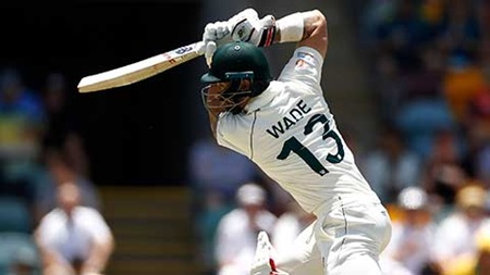 Wade whacks the first maximum of the Test summer
