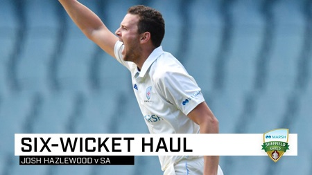 Hazlewood tunes up for Test summer with Shield six-fa