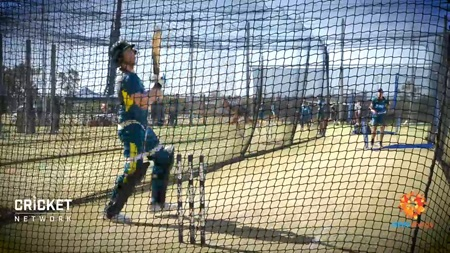 Watch Smith hit out in the Perth Stadium nets