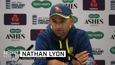 Lyon reacts to equaling Lillee's mark of 355 Test wickets