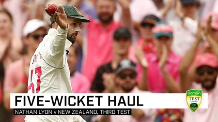 Lyon roars again with second five-wicket haul of SCG Test