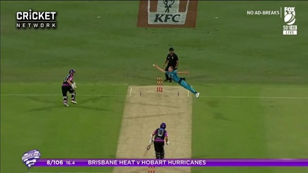 Flying Laughlin takes a screamer off his own bowling