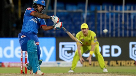 Dhawan's IPL ton sends Delhi Capitals top of the league