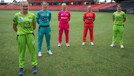 Players gather in a barefoot circle ahead of WBBL season
