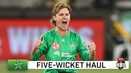 Shoulder knock not enough to stop Zampa's five-fer