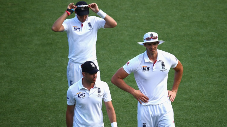 Joe Root, James Anderson and Chris Tremlett