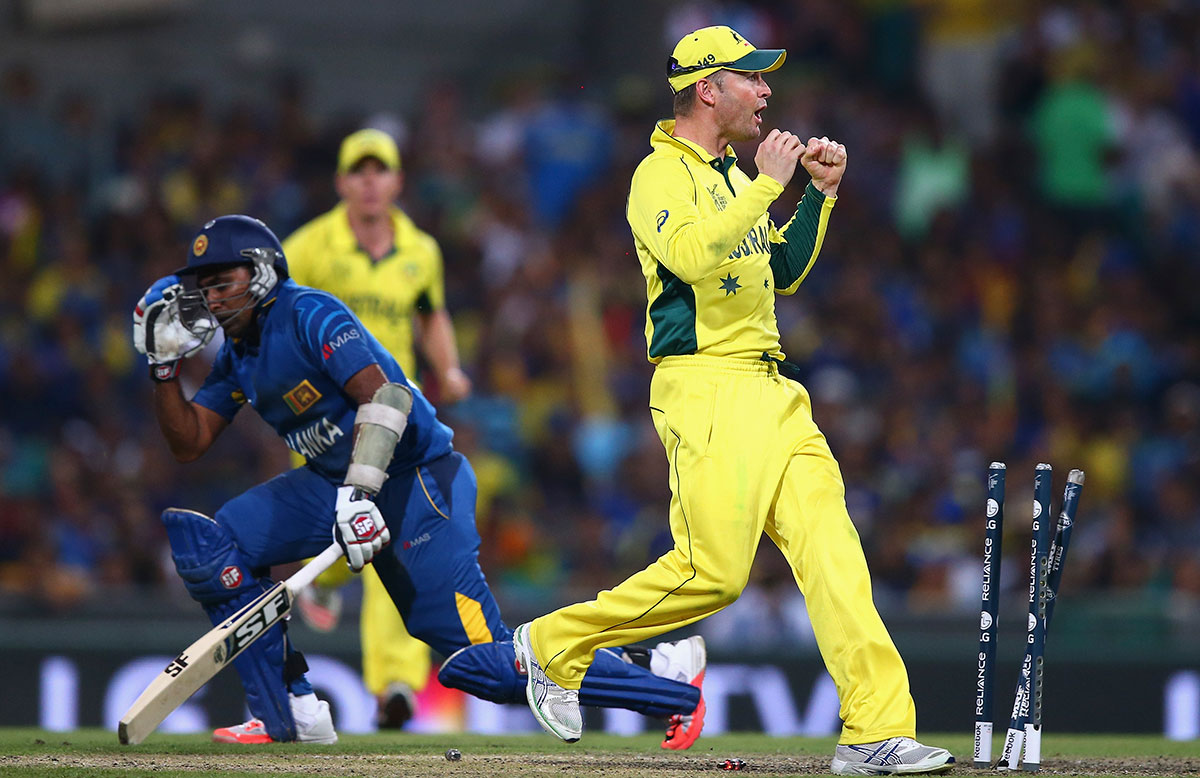 Michael Clarke effected the crucial run out of Mahela Jayawardene // Getty Images