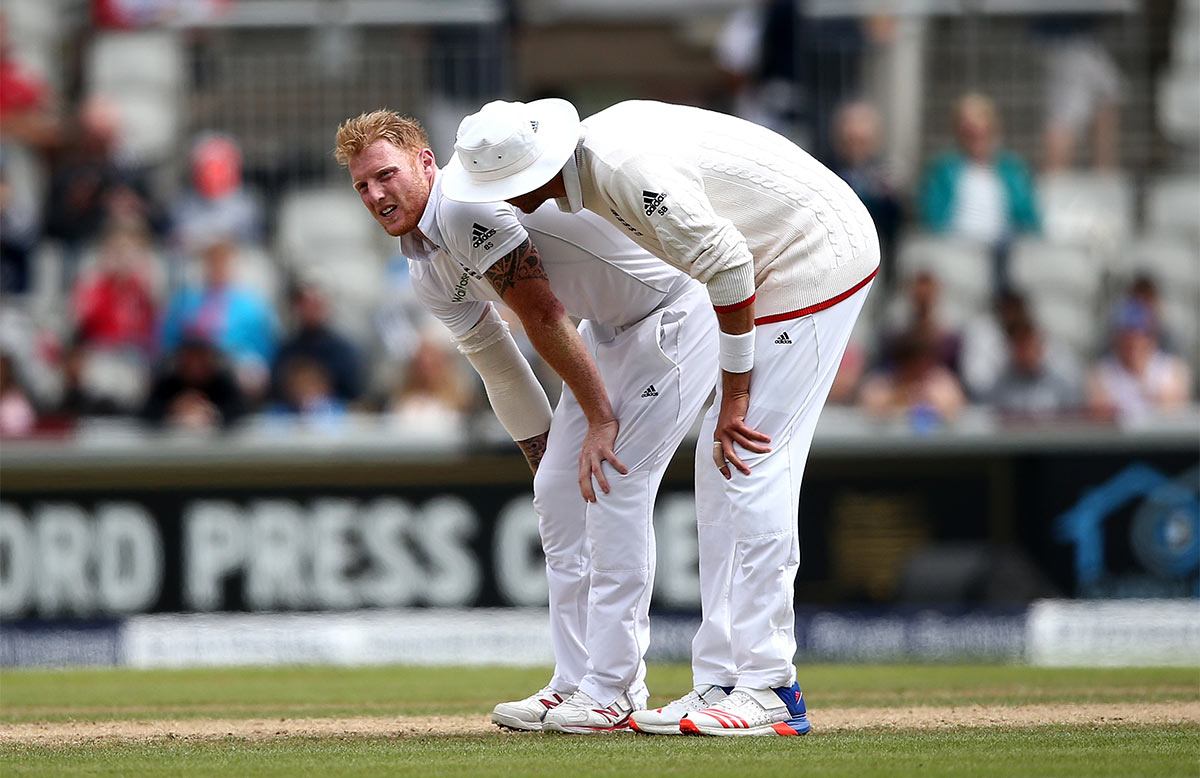 Ben Stokes injured his calf at Old Trafford // Getty