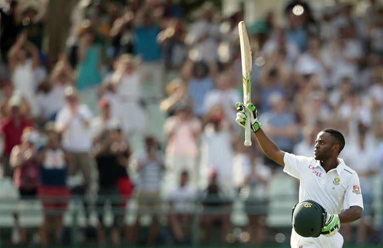 Bavuma seen here scoring his maiden Test ton in January 2016 // Getty