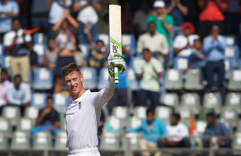 Jennings salutes the crowd after reaching his maiden Test century // BCCI