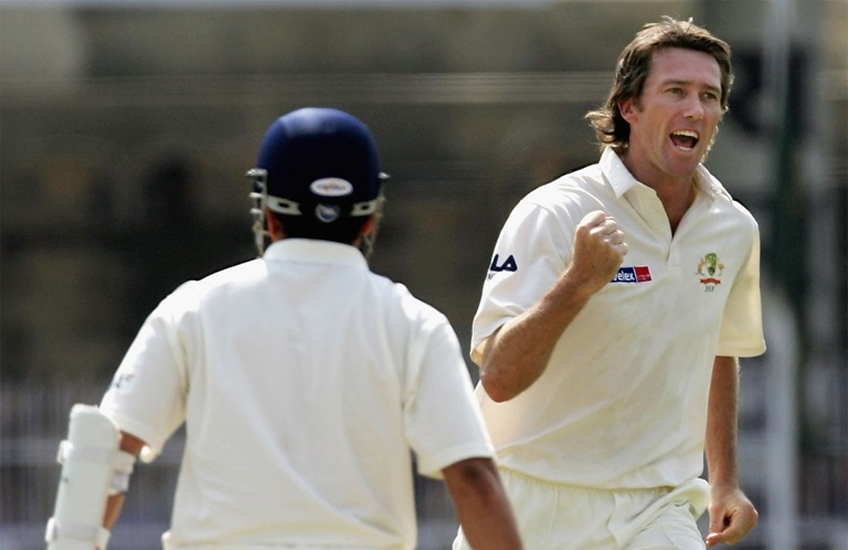 McGrath with the big wicket of Tendulkar in 2004 // Getty
