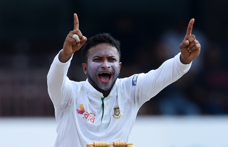 Star allrounder Shakib Al Hasan in action // Getty
