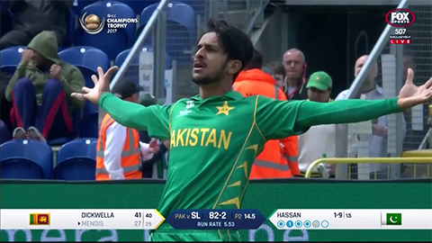 Watch all Hasan Ali's Champions Trophy wickets
