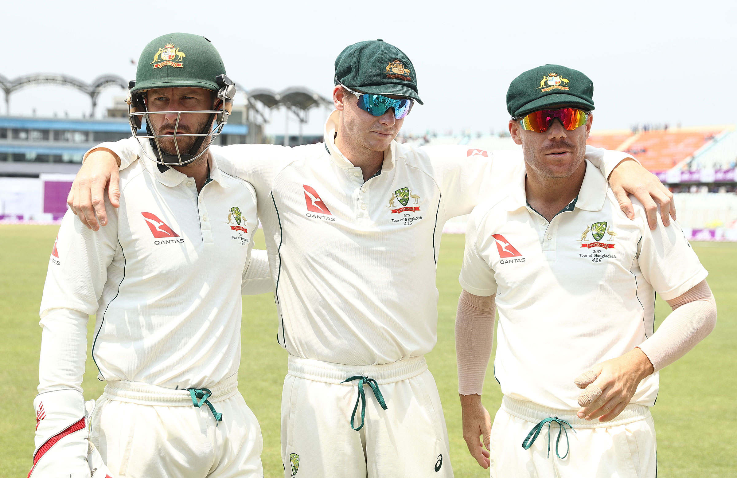 Wade, Smith and Warner after the Test win in Chittagong // Getty