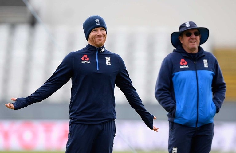 Morgan with England coach Trevor Bayliss // Getty
