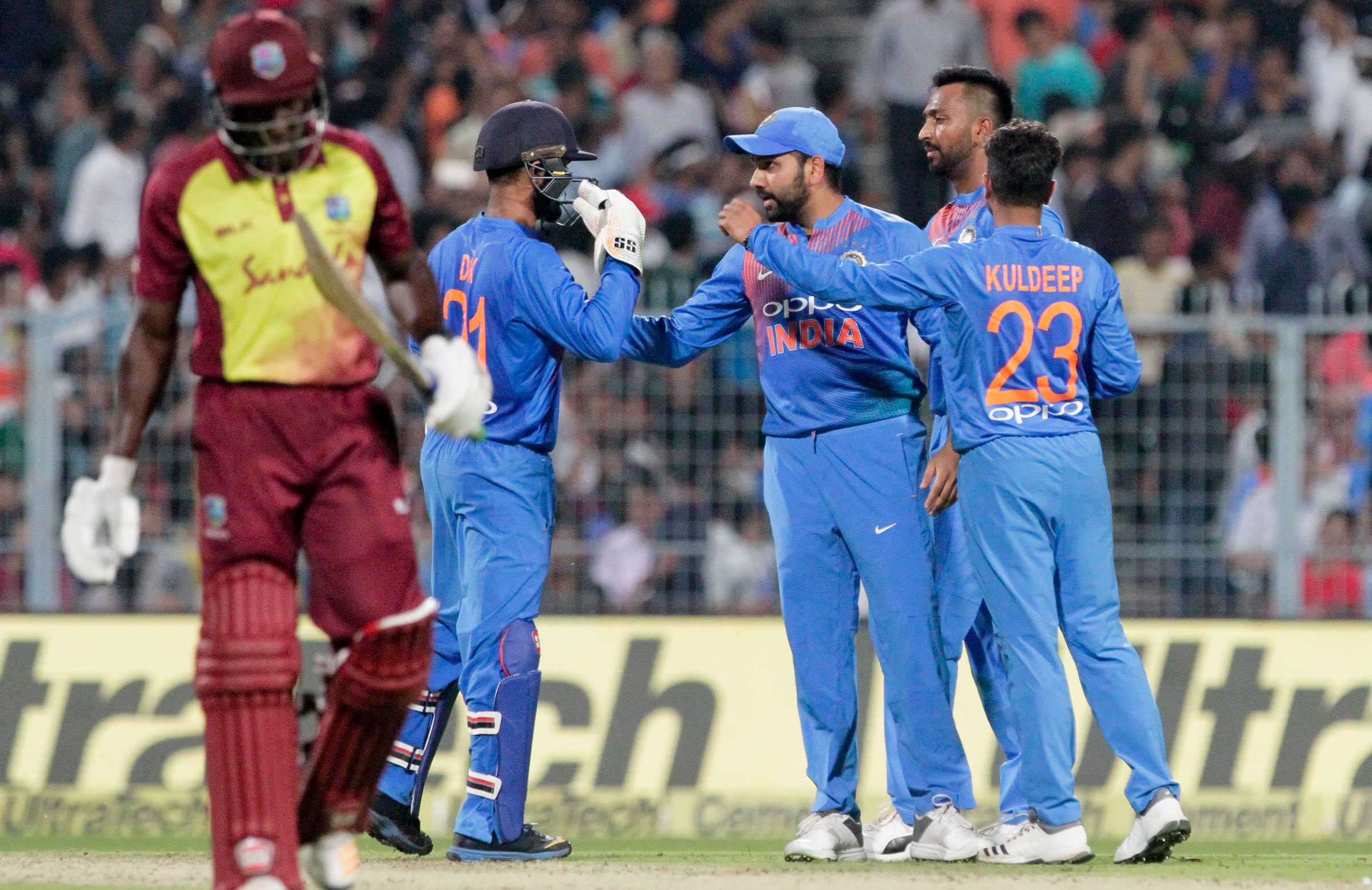 Man of the Match Kuldeep Yadav picked 3 wickets in the first T20I against West Indies (photo - getty)