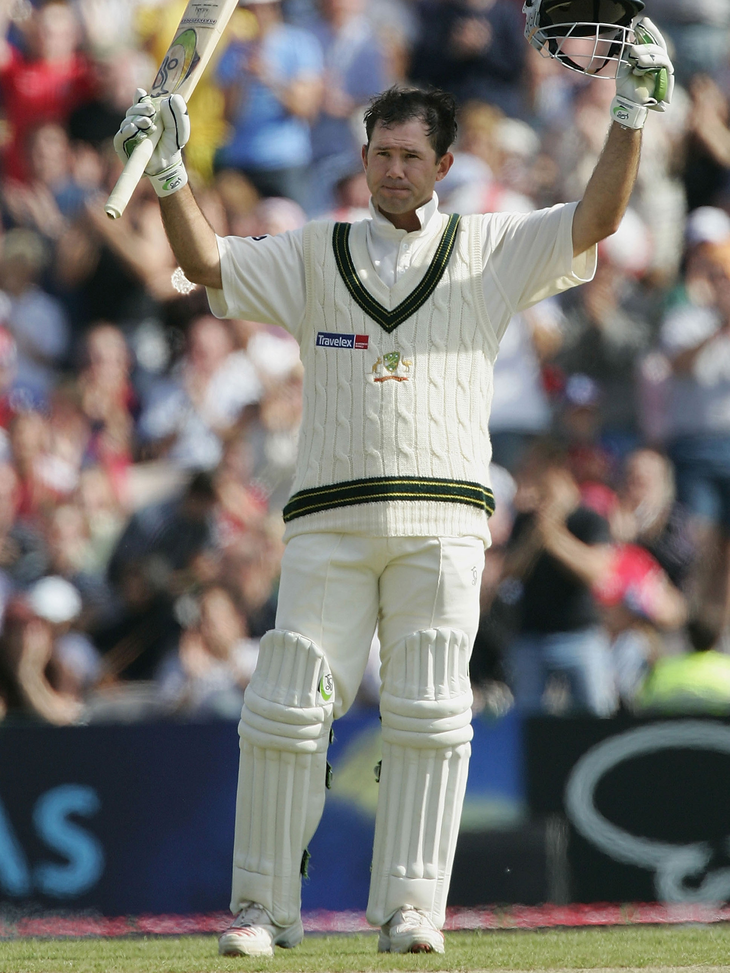 Ponting celebrates reaching three figures at Old Trafford // Getty