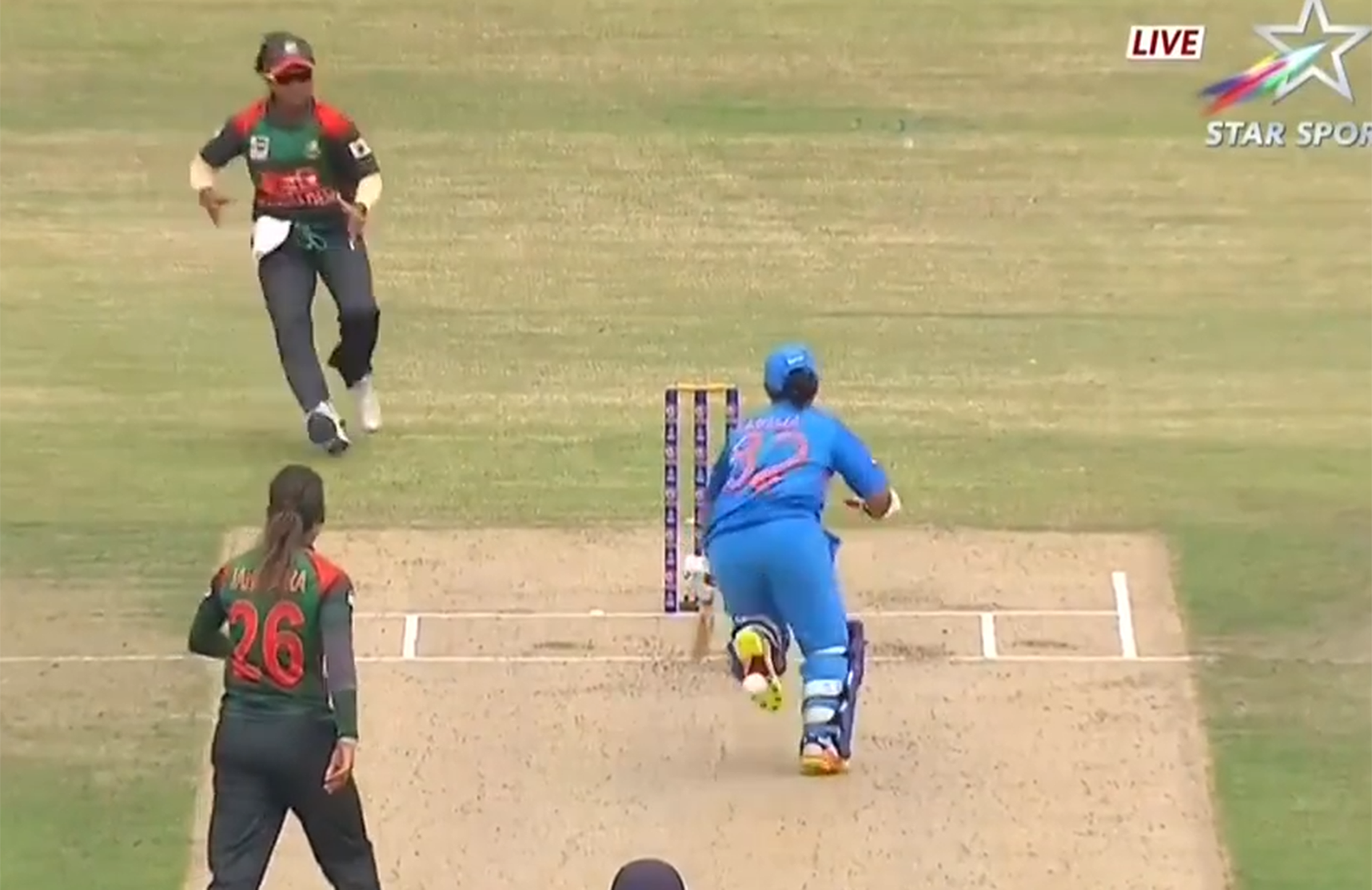 Patil blocked the ball from hitting the stumps