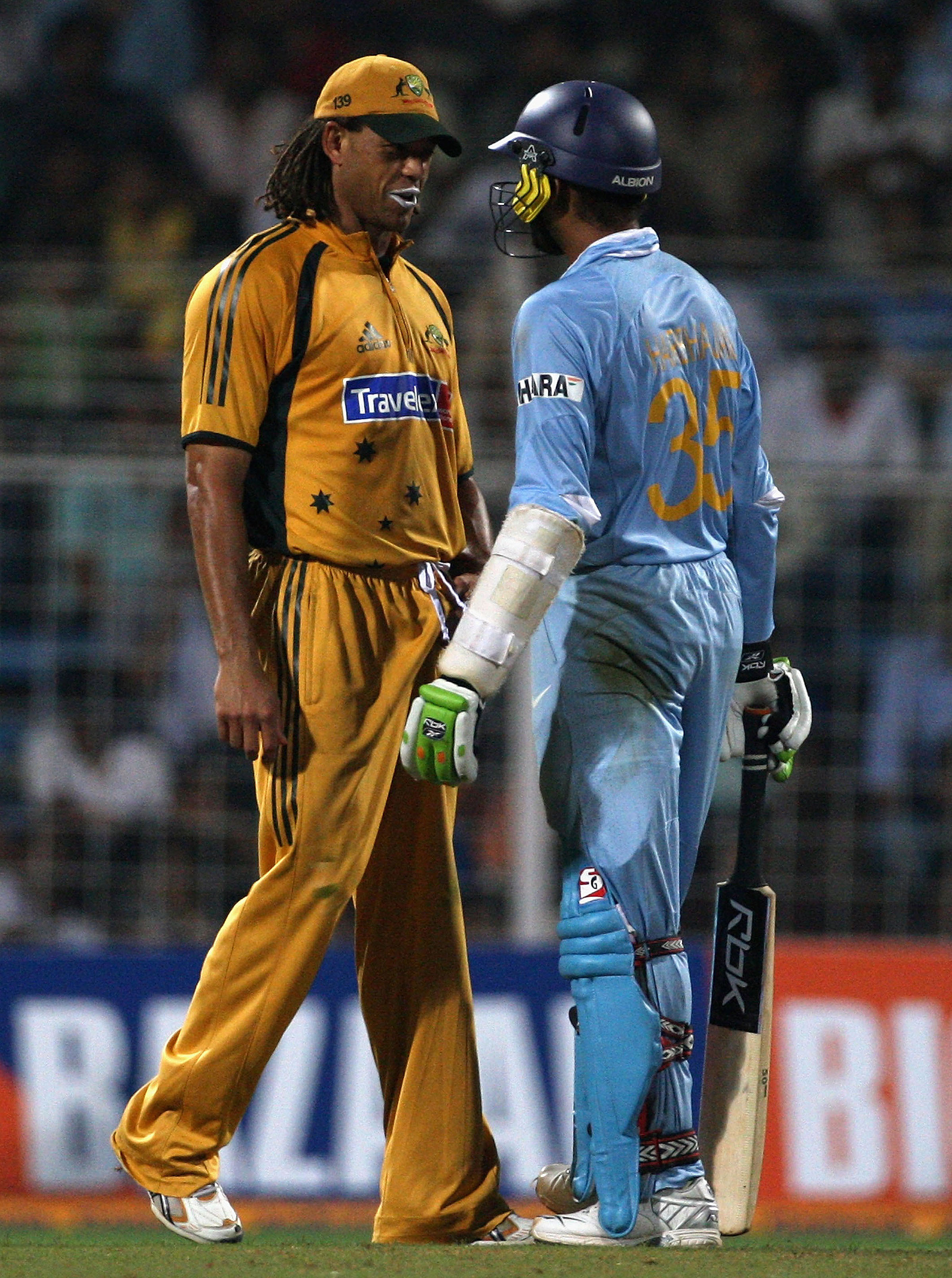 Andrew Symonds and Harbhajan Singh clash in a 2007 ODI // Getty