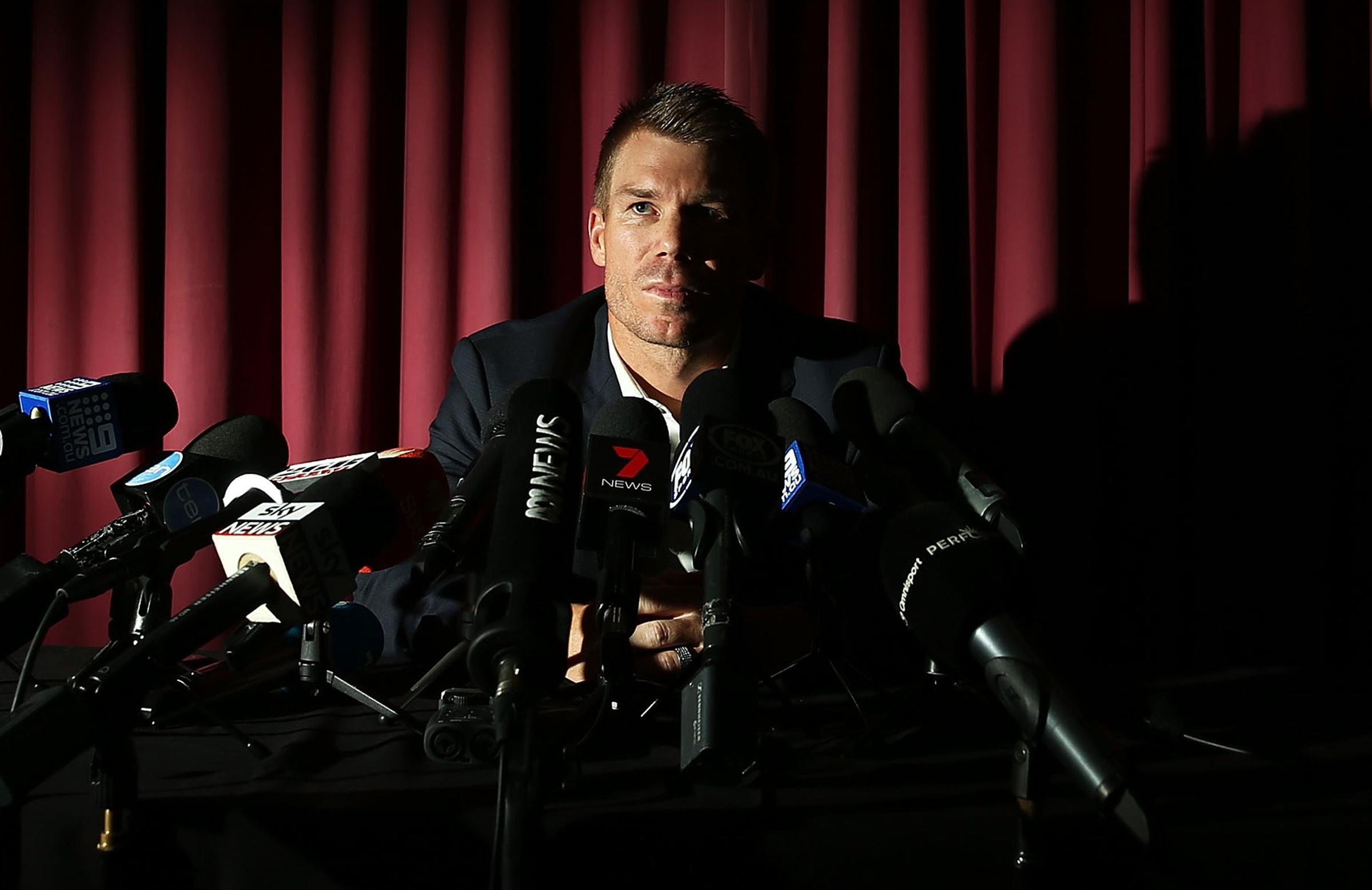 David Warner speaks to the media in Sydney // Getty