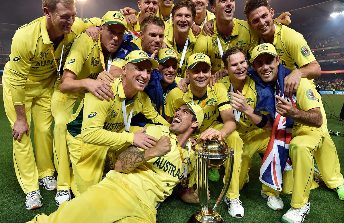 Australia celebrate their 50-over World Cup win in 2015 // Getty