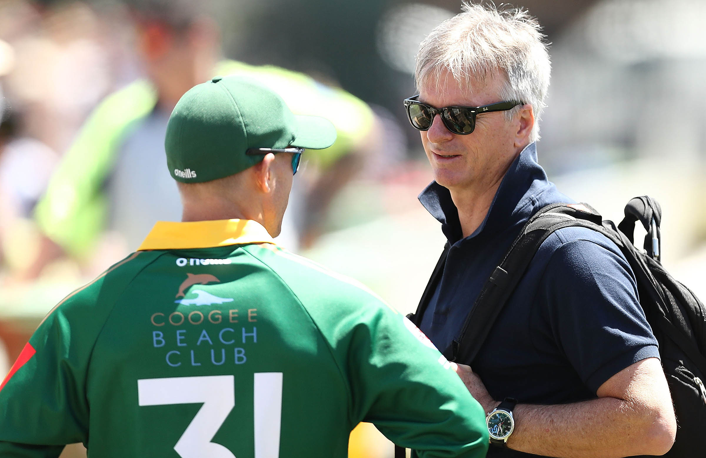 Steve Waugh and Warner chat at Coogee Oval // Getty