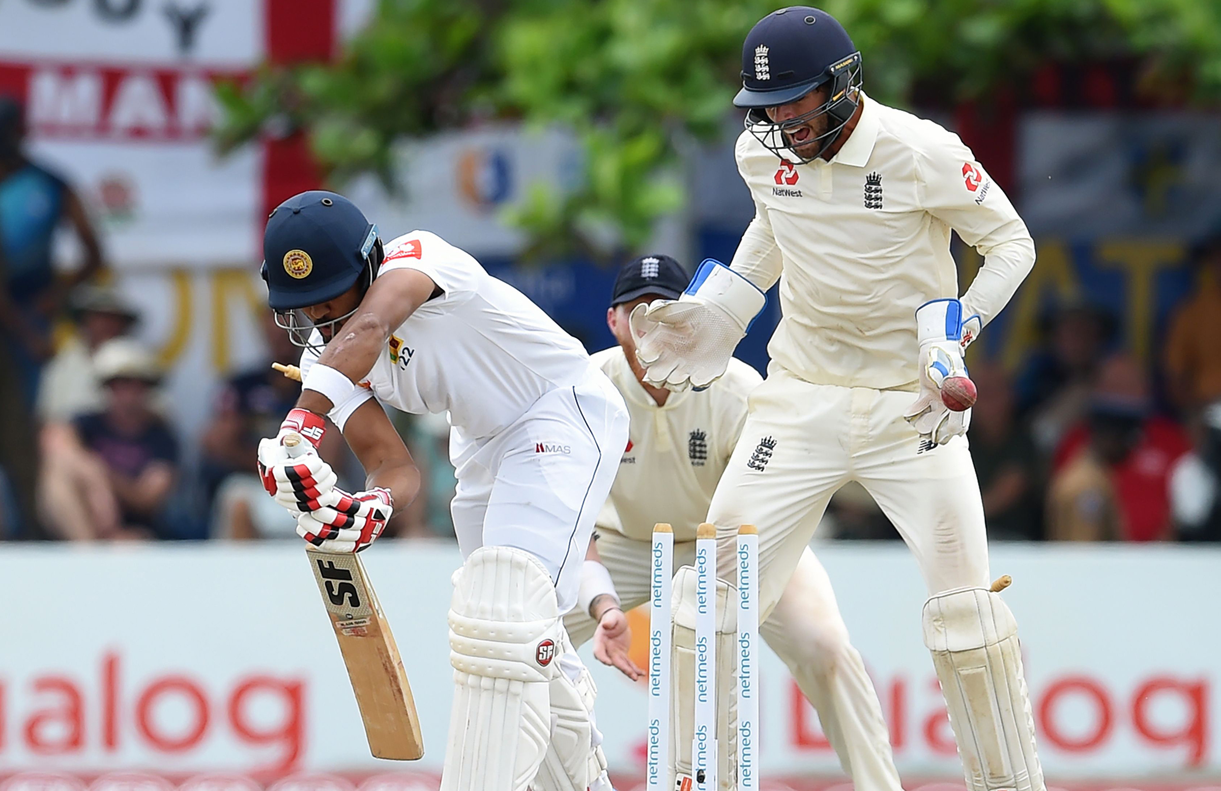 Chandimal was bowled by Leach // Getty