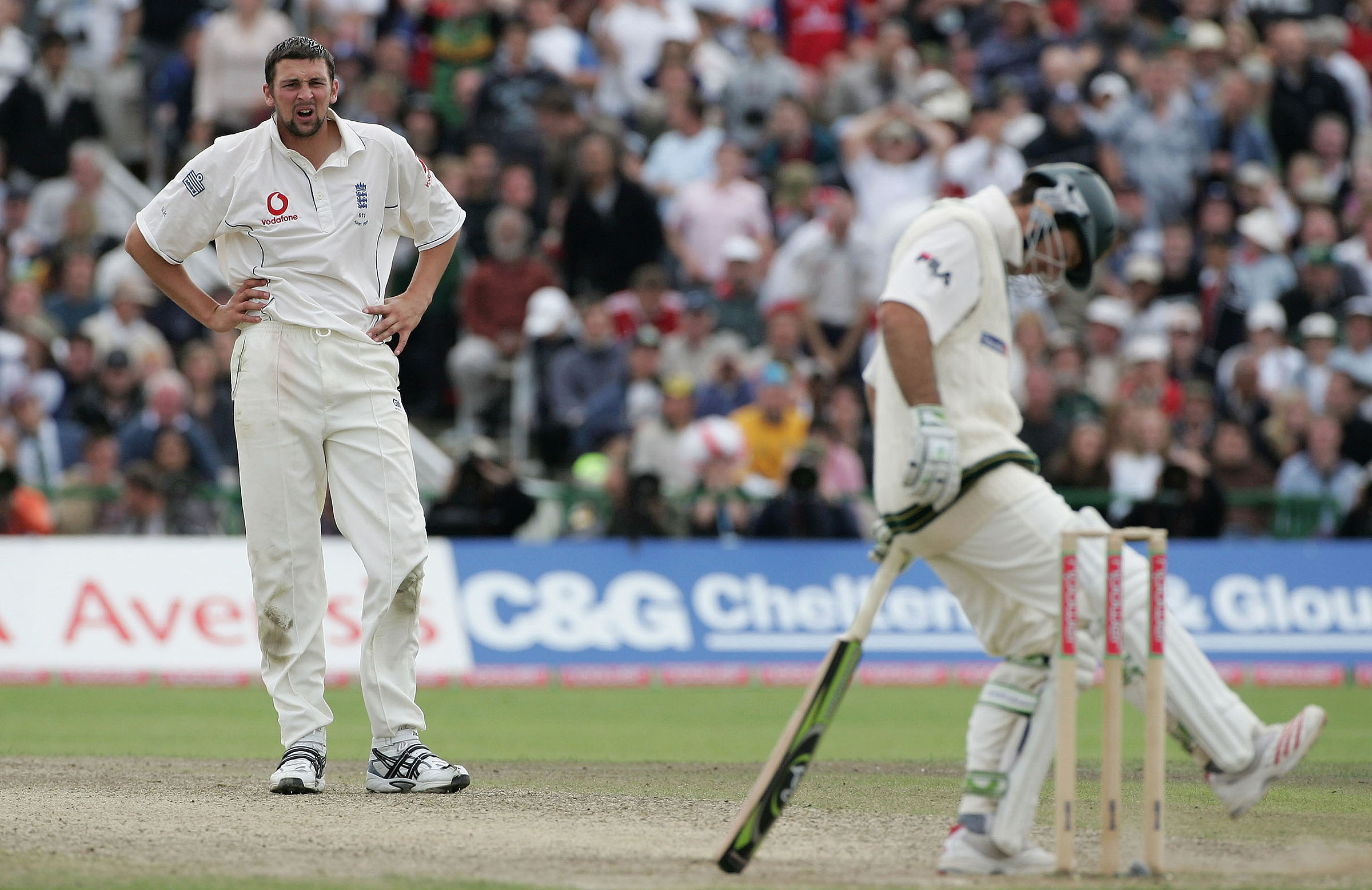 Steve Harmison stares down Australia's human road block // Getty