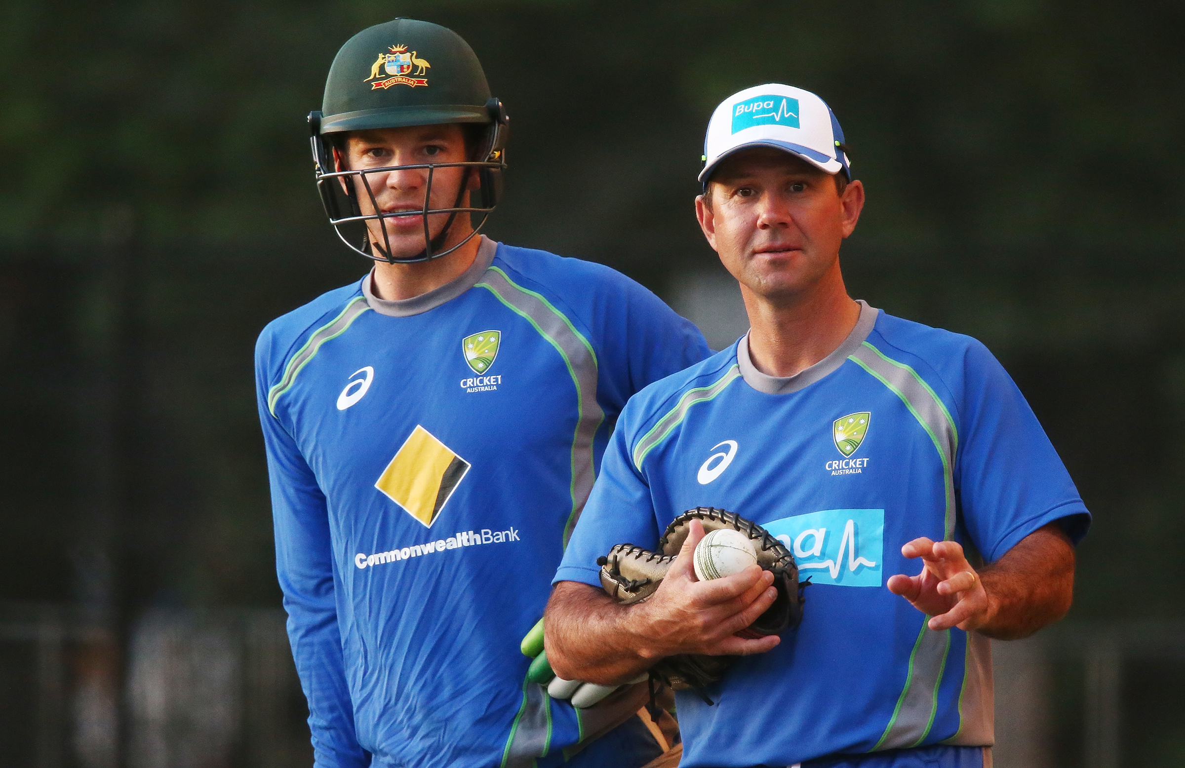 Ponting and Tim Paine during Australia's T20 series against Sri Lanka last year // Getty