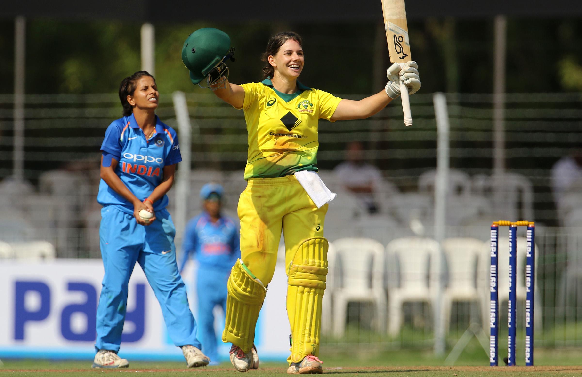 Bolton celebrates her fourth ODI ton // BCCI