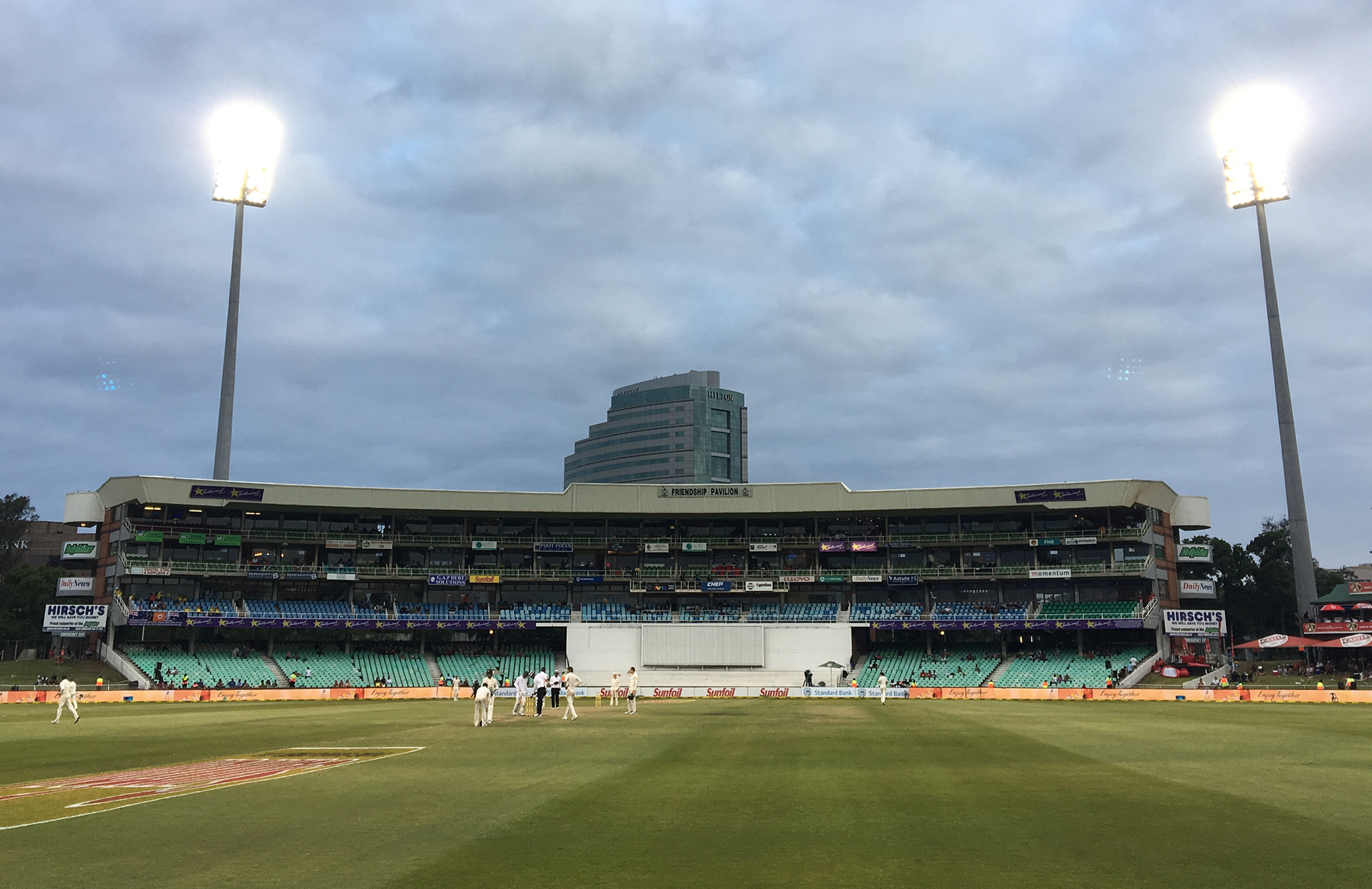 The scene at Kingsmead just before stumps was called // Cricket Network