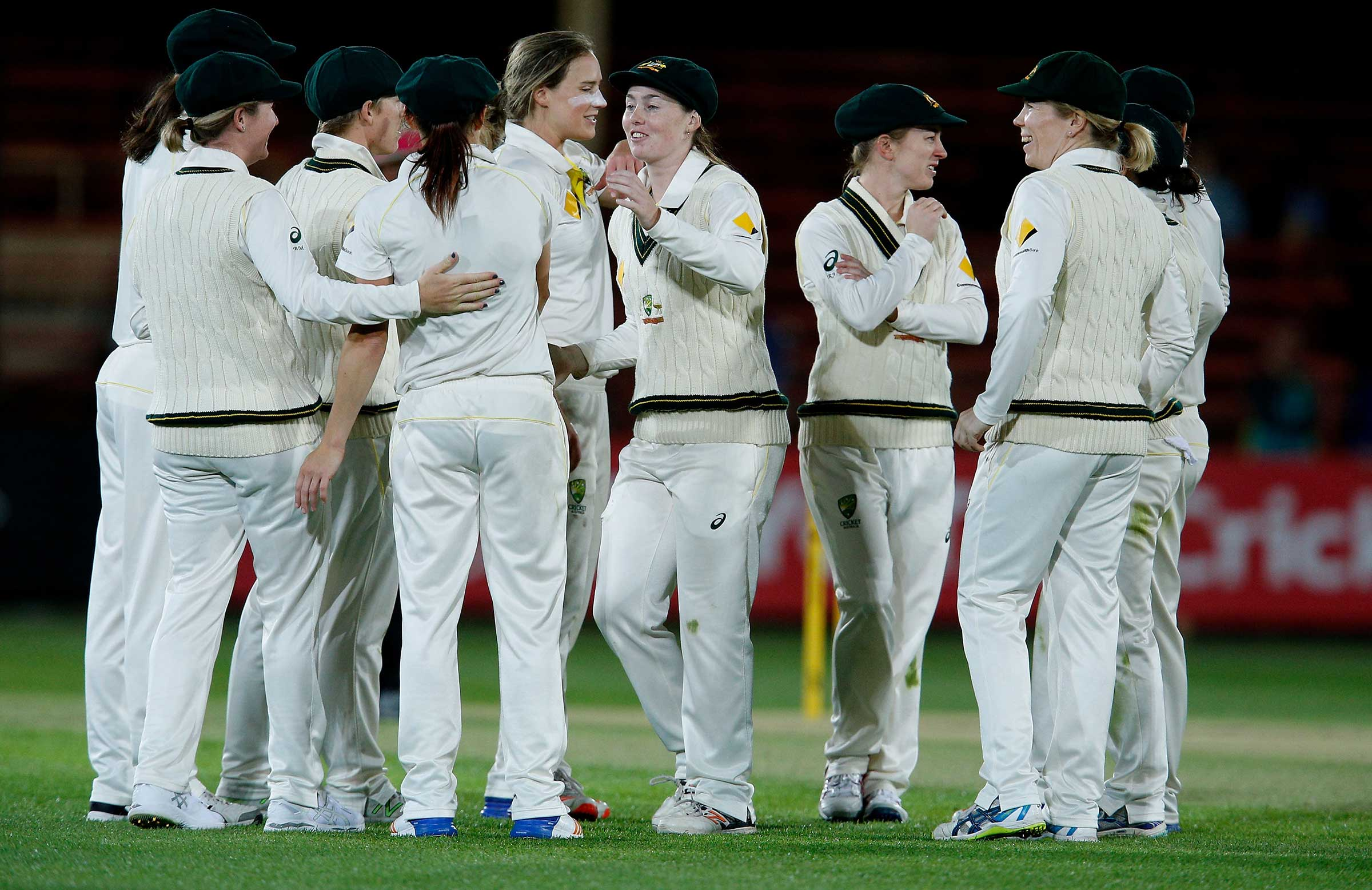 Australia celebrates an Ellyse Perry wicket on day one of the Commonwealth Bank Women's Ashes Test // Getty