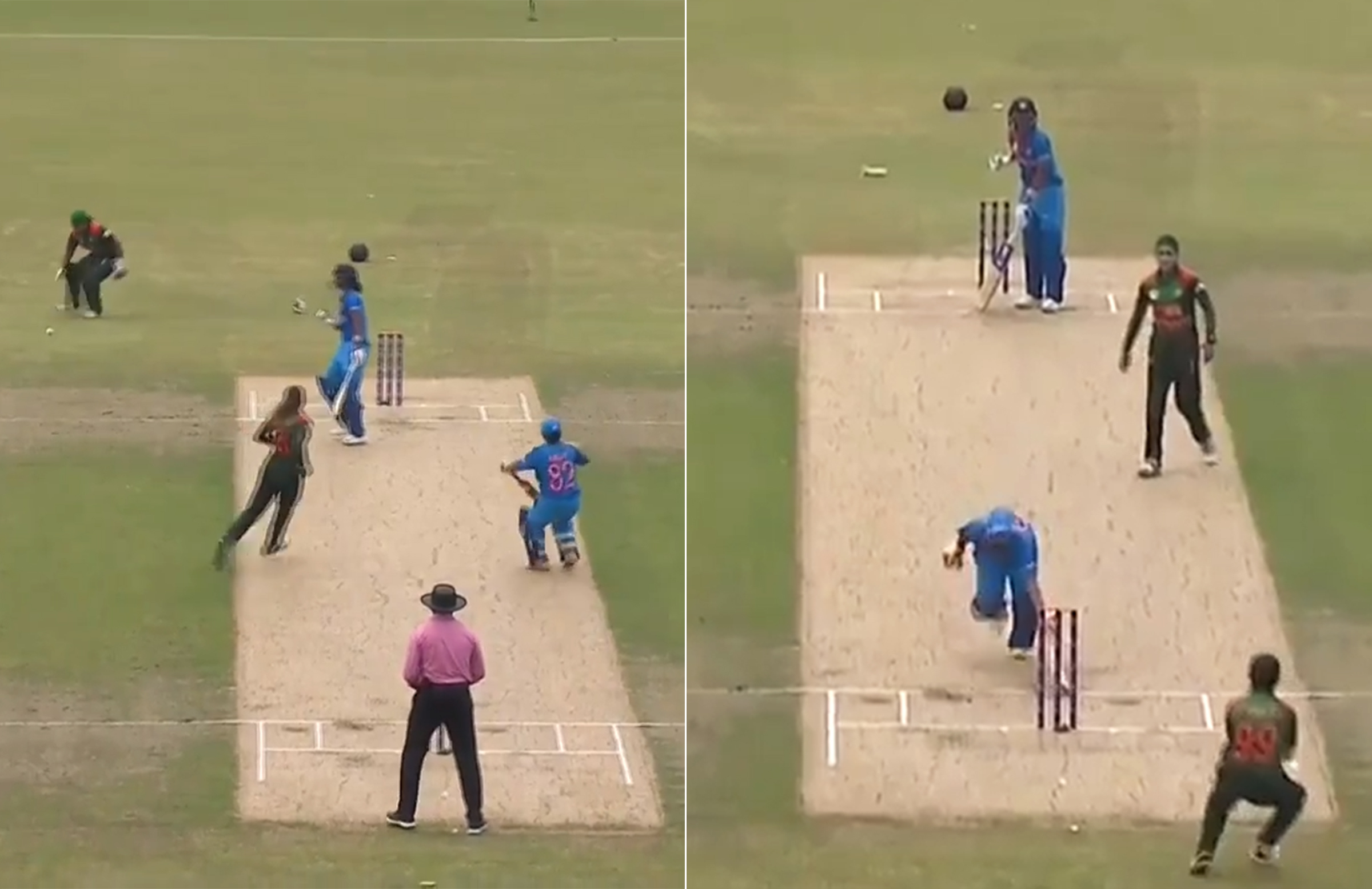 Patil ran from the right side of the pitch (left) into the centre