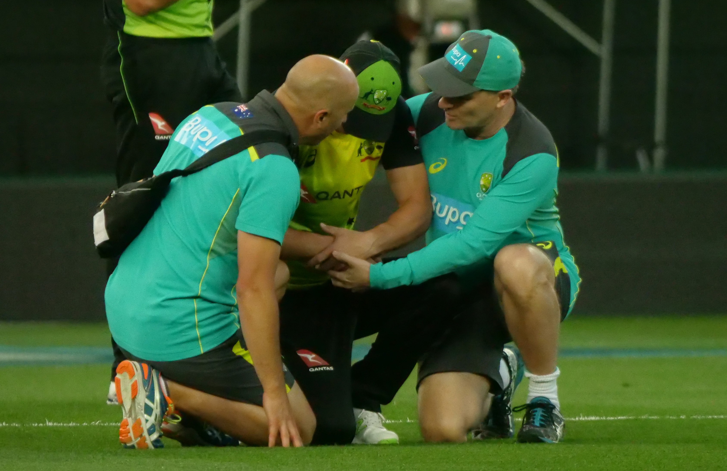 Lynn in the hands of medical staff // cricket.com.au