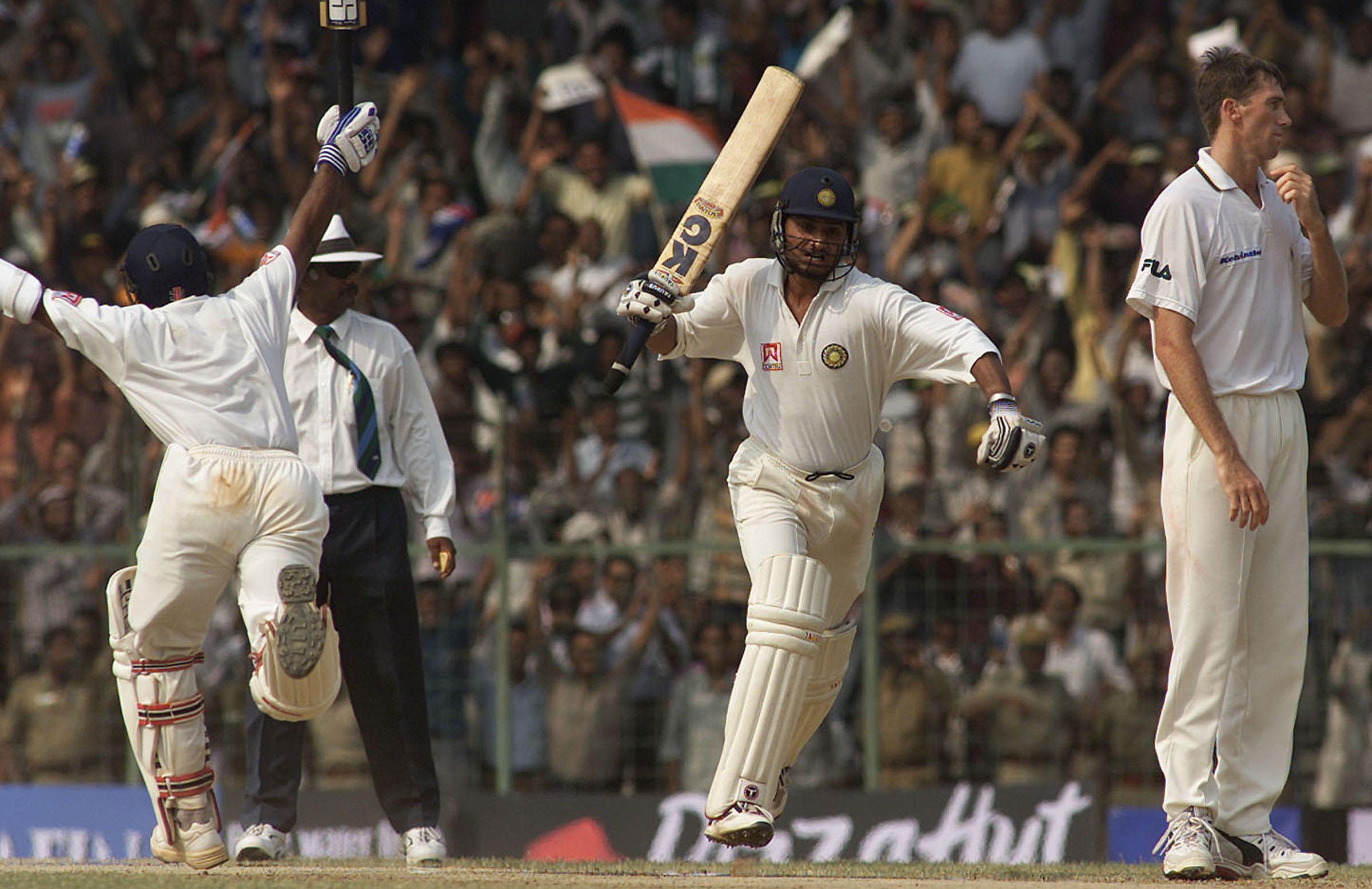 India celebrate their famous 2001 series win // Getty