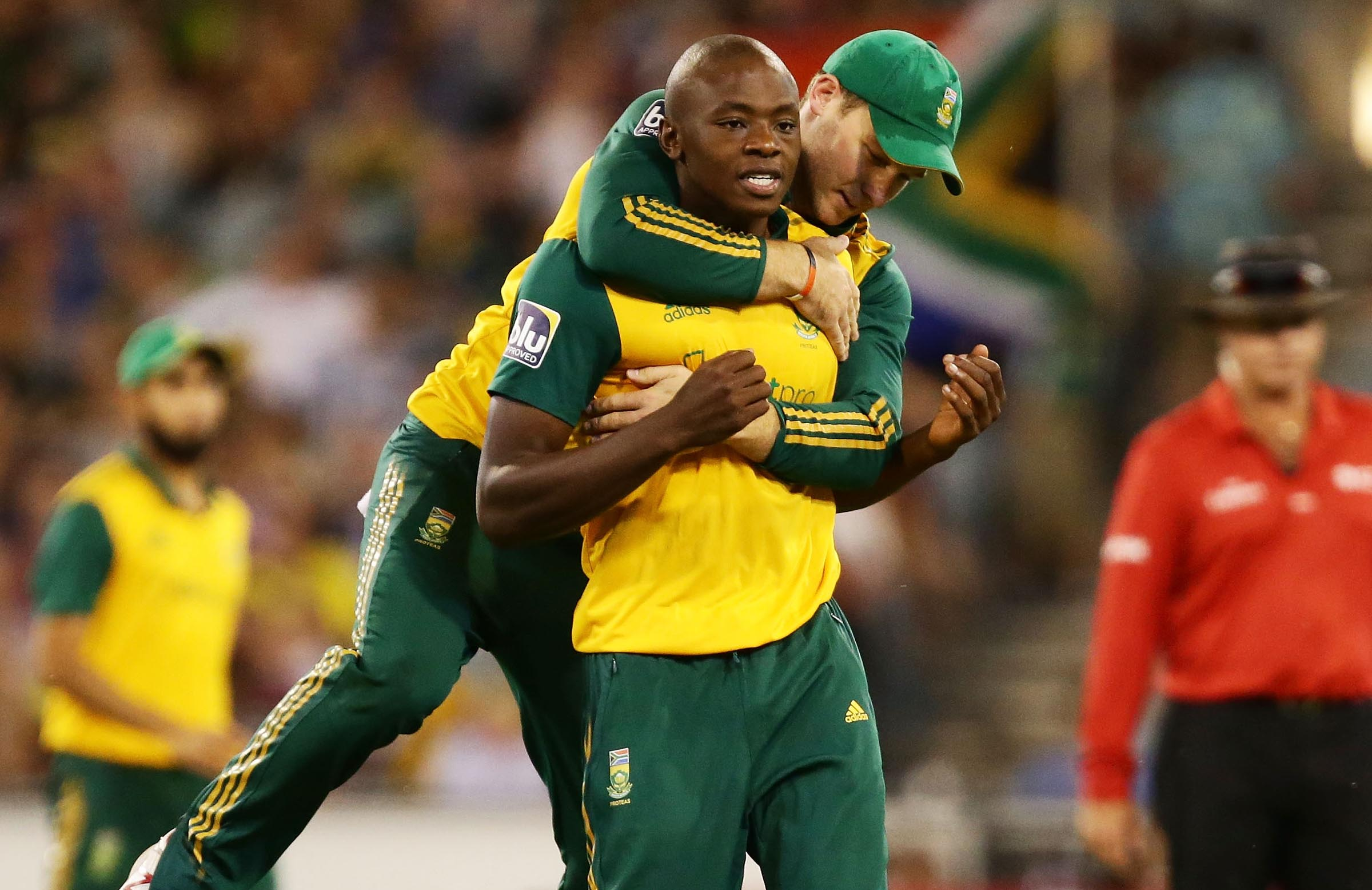 Rabada celebrates after taking Maxwell's wicket in 2014 // Getty