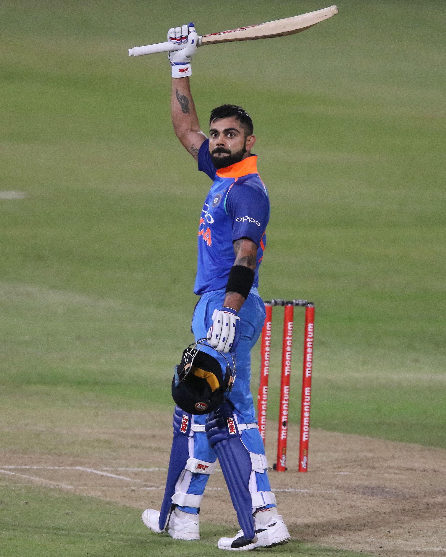 Kohli celebrates his 33rd ODI hundred // Getty