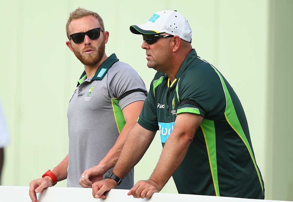 Australian team manager Gavin Dovey and coach Darren Lehmann // Getty
