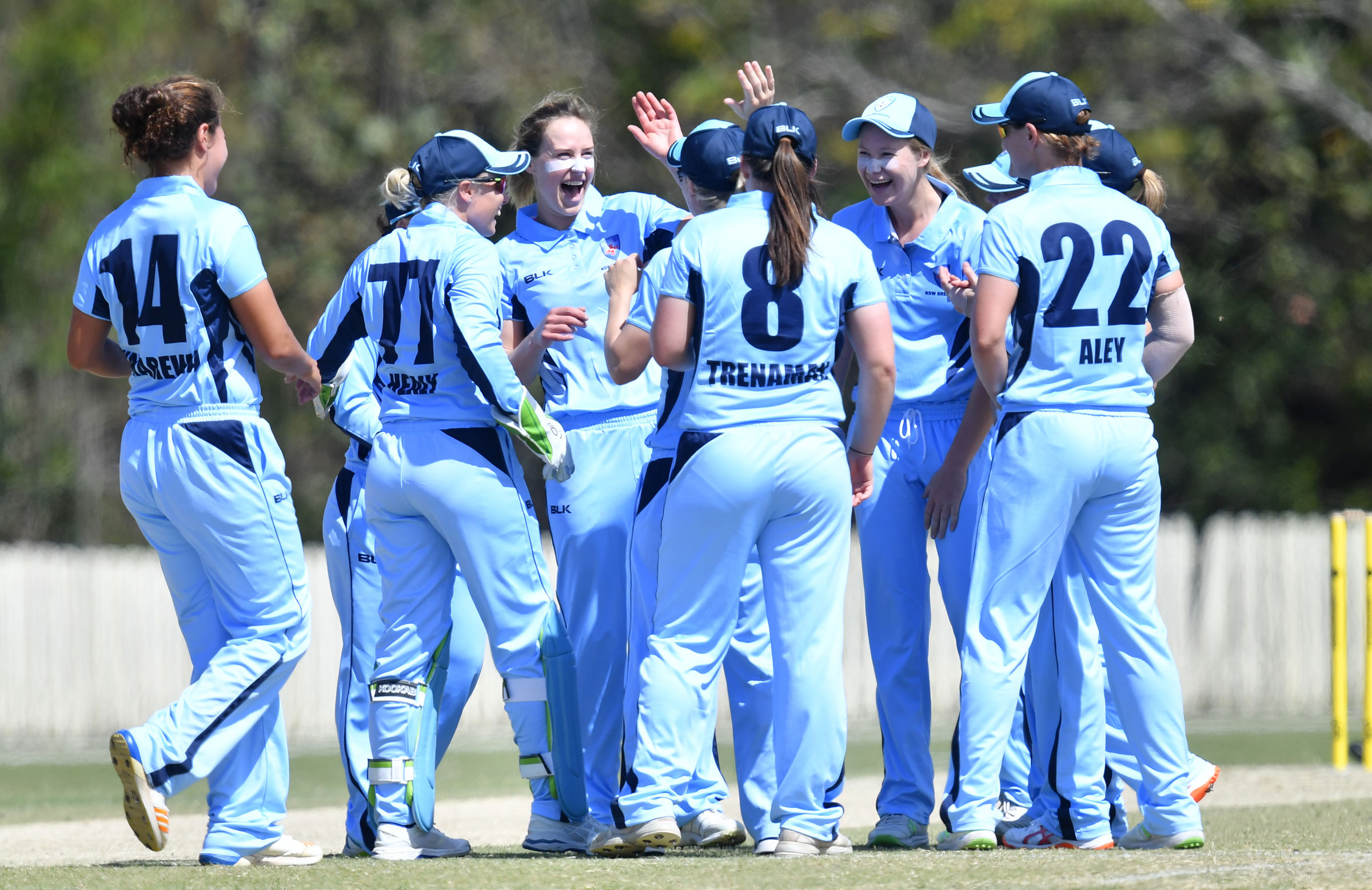 Ellyse Perry celebrates a wicket with her Breakers teammates // AAP
