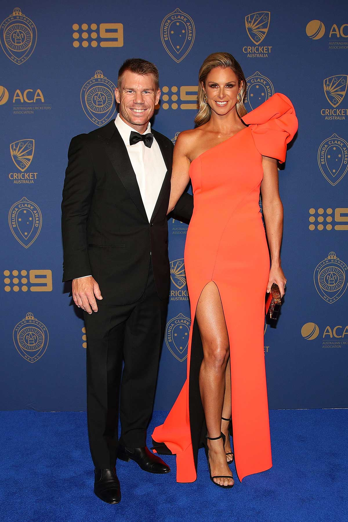 David and Candice Warner arive at the Palladium // Getty