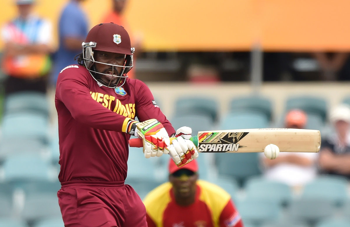 Chris Gayle in full flight in New Zealand // Getty Images
