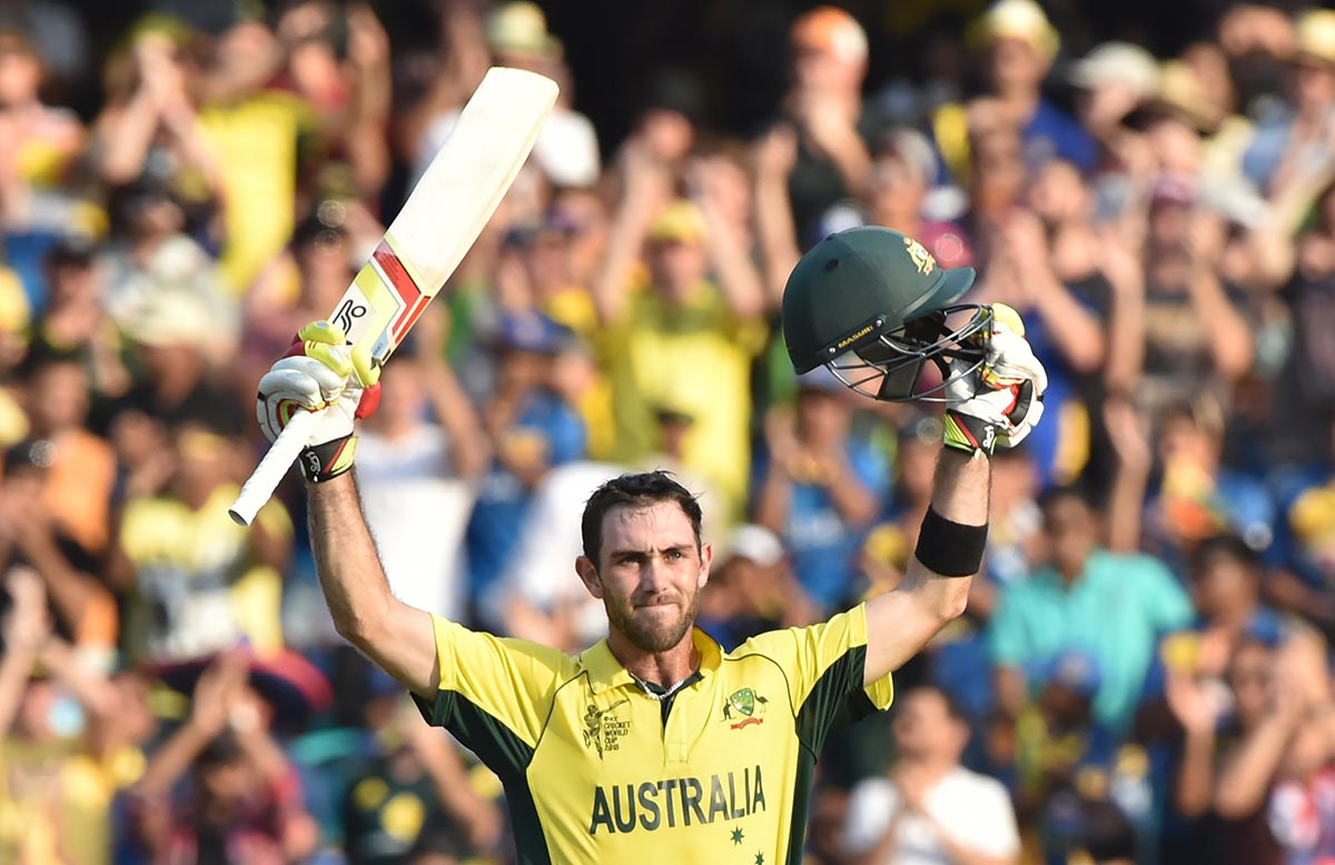 Maxwell celebrating his maiden ODI ton in the 2015 World Cup // Getty