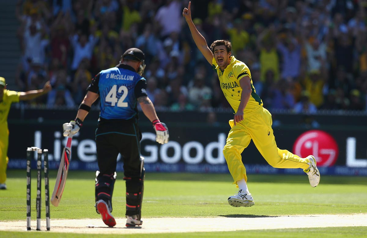 Starc with the key wicket of NZ captain Brendon McCullum in the 2015 World Cup final // Getty