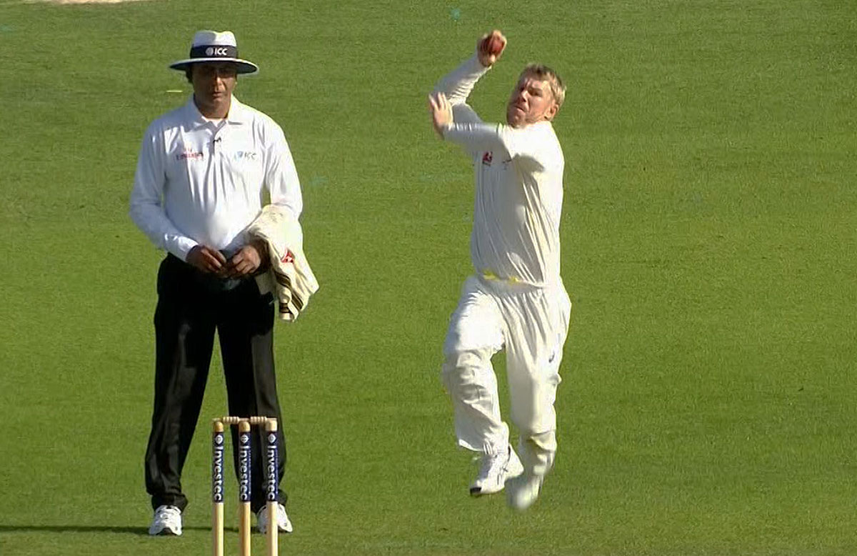 Warner rolls the arm over on day one // Channel Nine