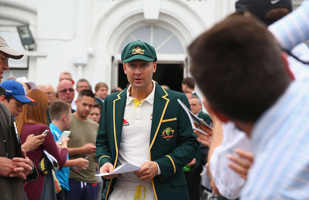 Michael Clarke enters the field with the team sheet // Getty Images