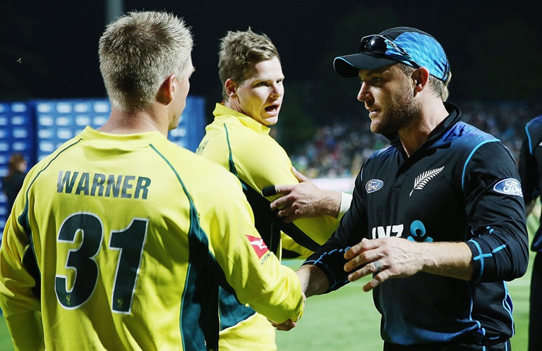Steve Smith and Brendon McCullum after the match